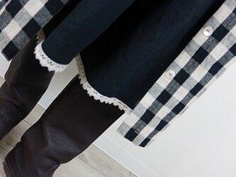 [予約販売] ヨーロッパブラックリネンレースタックパンツの画像