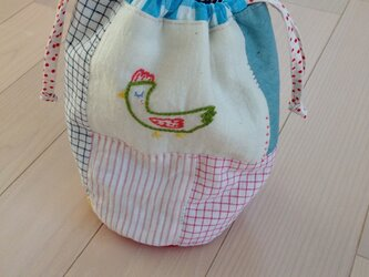 ◆トリさんの丸底巾着の画像