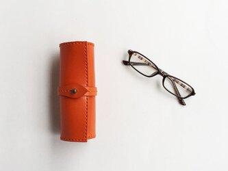 栃木レザーを使った巻物メガネケース 橙の画像