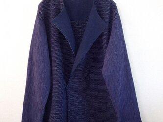 久留米絣と藍染め生地 ダブルのシャツジャケット 男女兼用の画像