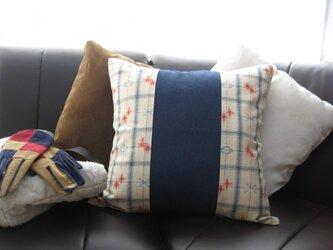 クッションカバー⑤ 青の格子柄×デニム(青)151515AO-DEの画像