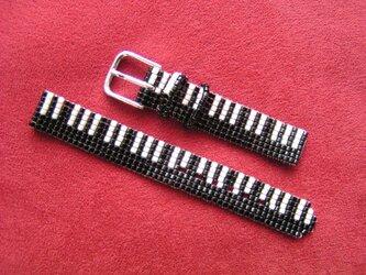 ビーズ織の時計ベルト(14mm) 鍵盤柄Ⅱ の画像