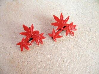 赤 枝もみじ ピアスの画像
