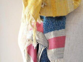 手染織シルク 大判ストール 「pop yellow」の画像