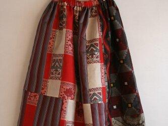 銘仙など 秋色パッチワークギャザースカート2 Fサイズの画像