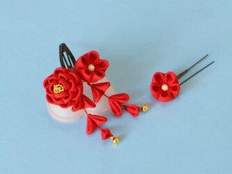 正絹 椿の髪飾り【受注製作】ミニ 赤 Uピ ン花1輪付き かんざしの画像