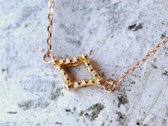ミルグレインネックレス(ダイヤ形・K18PG)の画像