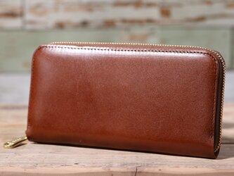 大日産業キッププリモ 茶色 長財布 ラウンドファスナー 牛革 皮 ハンドメイド 手作りの画像
