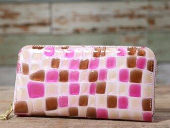 ステンドグラス ピンク 長財布 ラウンドファスナー 牛革 皮 ハンドメイド 手作りの画像