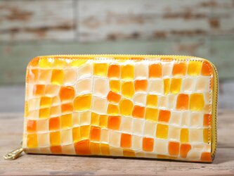 ステンドグラス オレンジ 長財布 ラウンドファスナー 牛革 皮 ハンドメイド 手作りの画像
