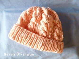 *模様編み*ニット帽子 ピンクの画像
