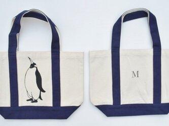 イニシャル入り、ペンギントートバッグ、キャンバストートバッグ、ネイビーの画像