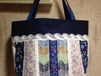 PJC刺繍&リバティ フランスリボン  帆布トートバッグの画像