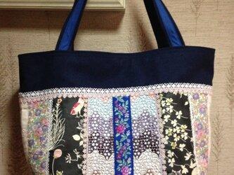 PJC刺繍&リバティ フランス薔薇リボン  帆布トートバッグの画像