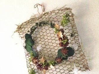 ∞無限大∞タペストリーのナチュラルリース【プリザ+造花】の画像