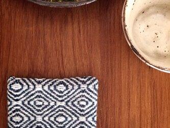 手織りウールのコースター(グリーン)の画像