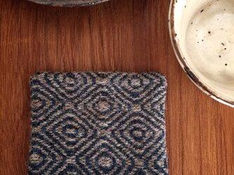 手織りウールのコースター(深緑)の画像