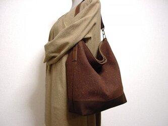 ウールと帆布のワンハンドルバッグ(茶×モカ茶革)の画像