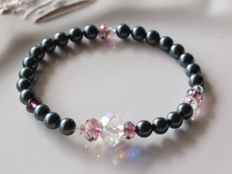 Swarovski の真珠ブレスレット *南洋黒真珠&大粒クリスタル*の画像
