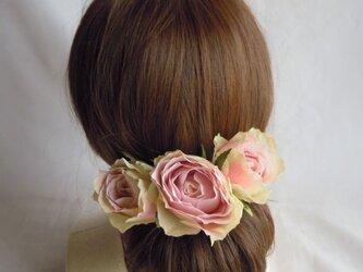 ヘッドドレス アンティークピンクのバラの画像