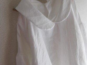 【受注製作】W45リネン後ろボタン襟付きブラウス★オフホワイトの画像