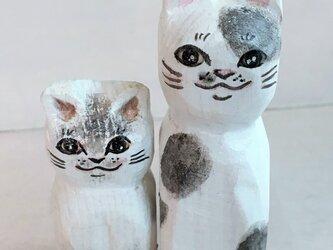 木彫り猫 白の画像