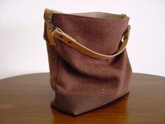 ウールと帆布のワンハンドルバッグ(茶×ライトキャメル革)の画像