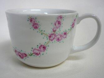 ミニ薔薇繋ぎもようのスープカップ(手描き)の画像