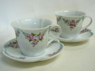手描きカップ&ソーサー2客セット(四ツ葉型)の画像