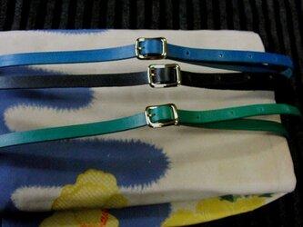 帯締めベルト(黒/緑のうち1本)本革11mm幅 着物浴衣に市販の帯留め使用も可能の画像