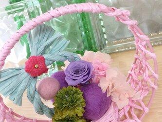 お正月アレンジ★パステル満月★【プリザ+造花】の画像