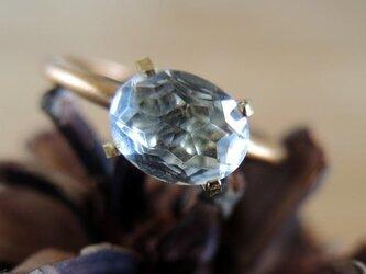 【アンティーク】ヨーロッパのクリアストーンと爪留のリングの画像