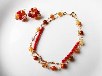 saleルチルクォーツと赤珊瑚のブレスレットの画像