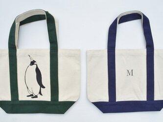 イニシャル入り、ペンギントートバッグ、キャンバストートバッグ、グリーンの画像