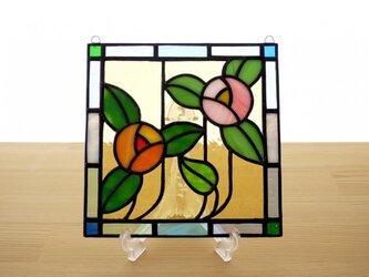 ステンドグラス ミニパネル フラワー・オレンジ 15cmの画像