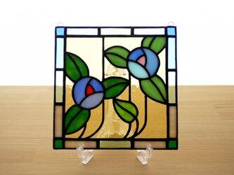 ステンドグラス ミニパネル フラワー・ブルー系 15cmの画像