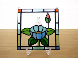 ステンドグラス ミニパネル 華・ブルー 15cmの画像