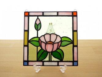 ステンドグラス ミニパネル 華・ピンク 15cmの画像