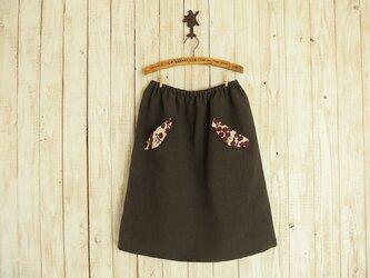 フラップポケット付きスカート(No.02/リネン/チャコール)の画像