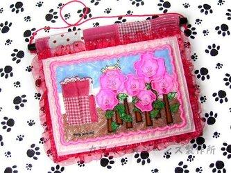 ★☆★アップリケ刺繍★可愛い猫★とお花★のタペストリー★☆★の画像