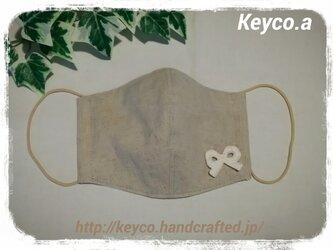 (L)ハーフリネン(リボン)◆ワイヤ入り立体マスクの画像