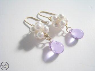 Pearl & Teardrop pierce -Lavender-の画像