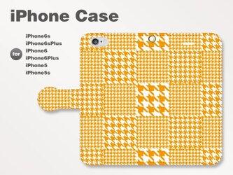 iPhone7/7Plus/SE/6s/6sPlus他 スマホケース 手帳型 和柄-千鳥柄-ビビッド オレンジ 0702の画像