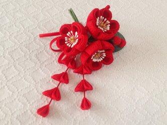 〈つまみ細工〉藤下がり付き梅三輪とベルベットリボンの髪飾り(赤)の画像