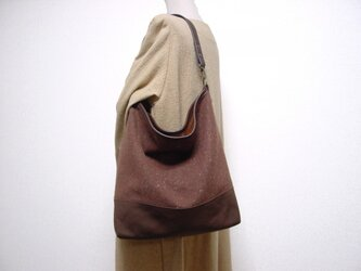 ウールと帆布の革パイピングワンハンドルバッグ(茶×チョコ色革)の画像
