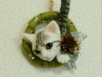 羊毛フェルトのクリスマスオーナメント(猫)の画像