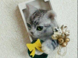 羊毛フェルトのクリスマスオーナメント(猫・アメショウ)の画像