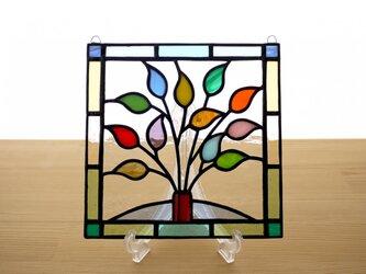 ステンドグラス ミニパネル リーフ(e) 15cmの画像