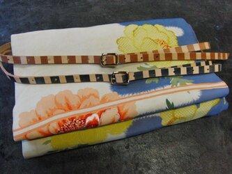 帯締めベルト(茶縞/黒縞のうち1本)本革11mm幅 着物浴衣に市販の帯留め使用も可能の画像