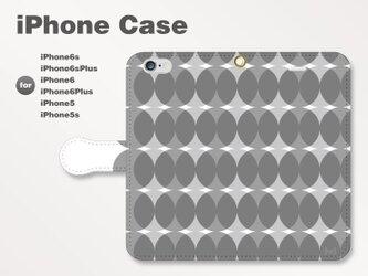 iPhone7/7Plus/SE/6s/6sPlus他 スマホケース 手帳型 北欧-ドット-七宝 モノトーン白黒0908の画像